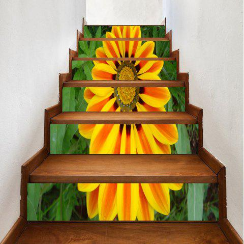 Sunflower Pattern Decorative Stair Decals - YELLOW 100*18CM*6PCS