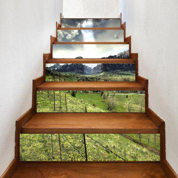 Mountains Village Pattern Decorative Stair Decals - GREEN GREEN