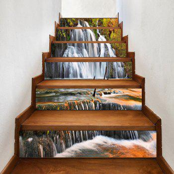 Waterfall Pattern Decorative Stair Decals - YELLOW YELLOW
