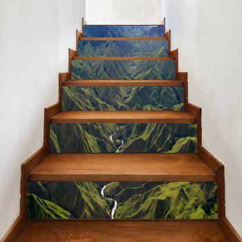 River In Mountains Pattern Decorative Stair Decals - GREEN GREEN
