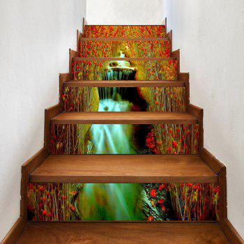 Flowers Waterfall Pattern Decorative Stair Decals - COLORMIX COLORMIX