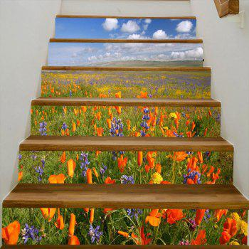 Sea of Flowers Pattern Decorative Stair Decals - COLORMIX COLORMIX