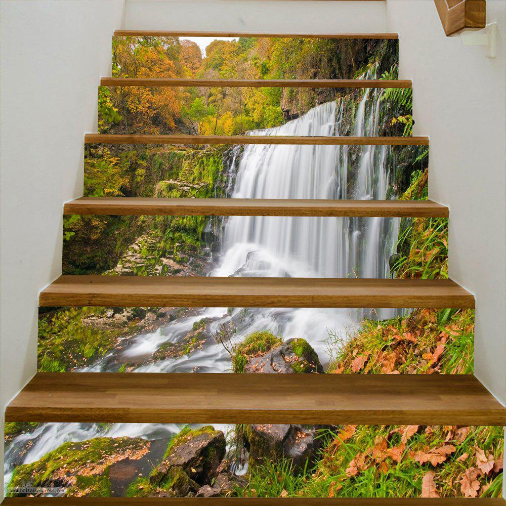 Mountain Waterfall Pattern Decorative Stair Decals - COLORMIX 100*18CM*6PCS