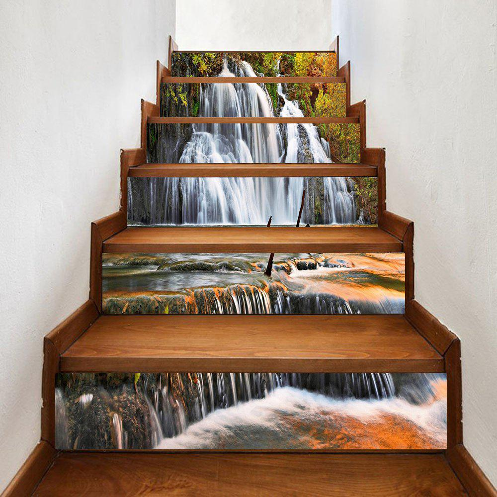 Waterfall Pattern Decorative Stair Decals - YELLOW 100*18CM*6PCS