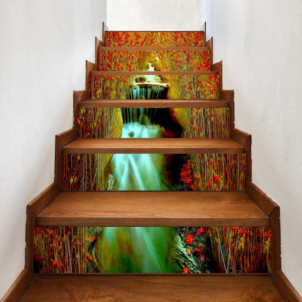 Flowers Waterfall Pattern Decorative Stair Decals - COLORMIX 100*18CM*6PCS