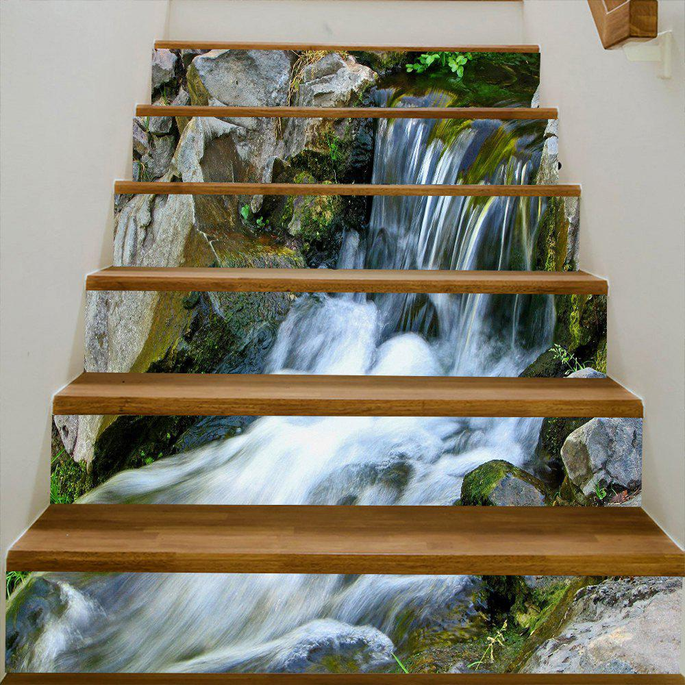 Stone Waterfall Pattern Decorative Stair Decals - WHITE 100*18CM*6PCS