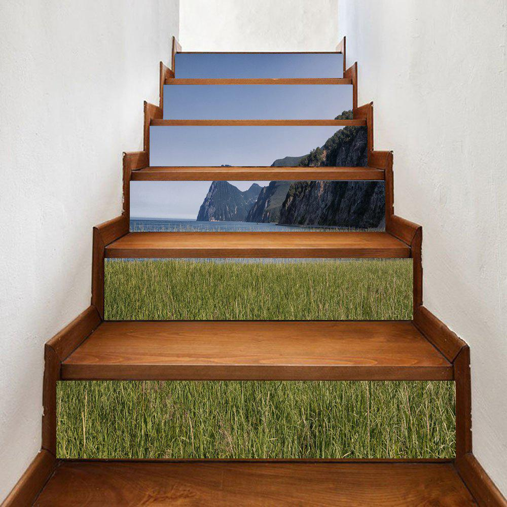 Seaside Mountains Pattern Decorative Stair Decals - GREEN 100*18CM*6PCS