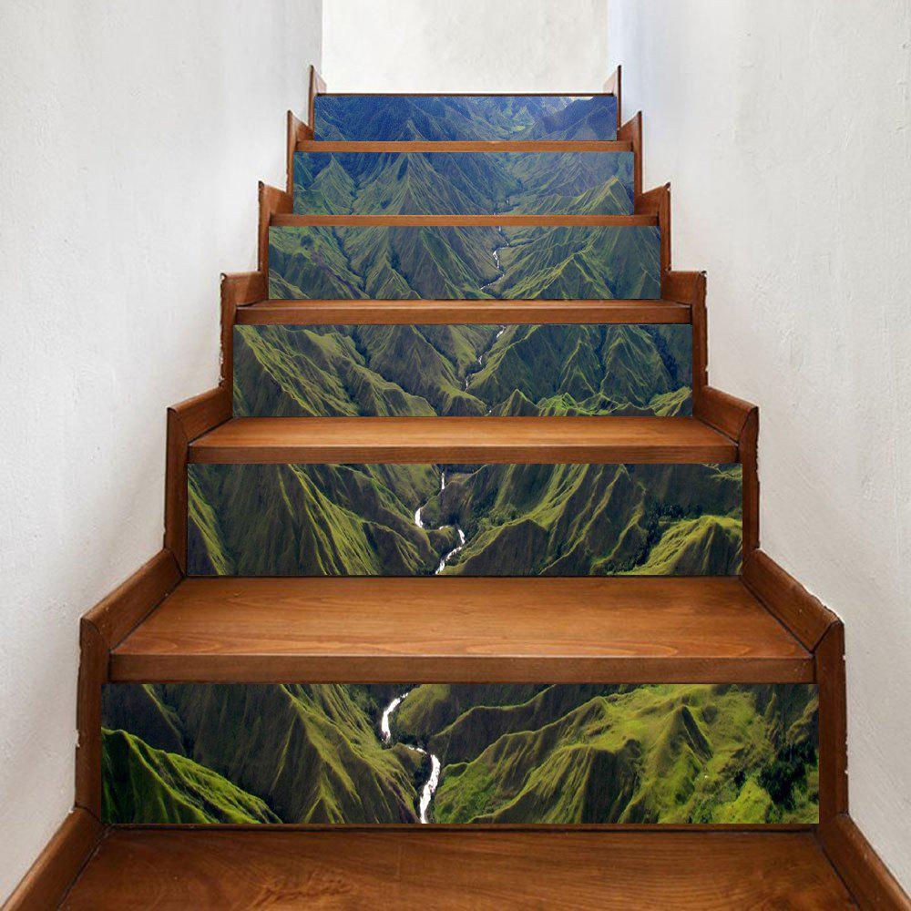 River In Mountains Pattern Decorative Stair Decals - GREEN 100*18CM*6PCS
