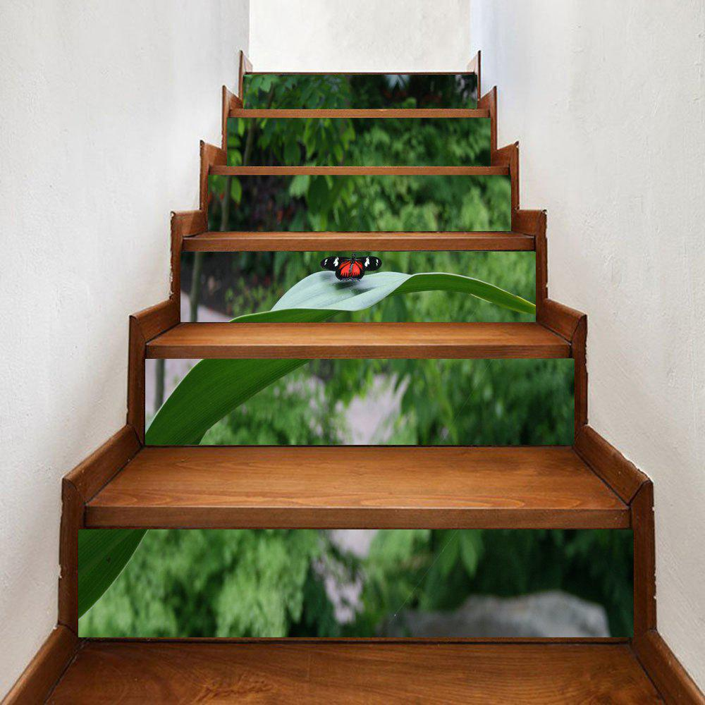 Butterfly On The Leaf Pattern Decorative Stair Decals - GREEN 100*18CM*6PCS