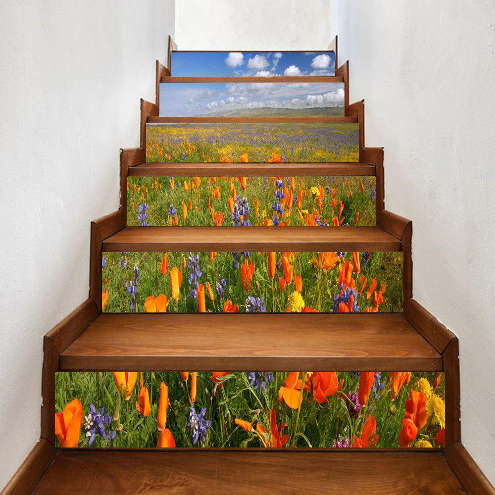 Sea of Flowers Pattern Decorative Stair Decals - COLORMIX 100*18CM*6PCS
