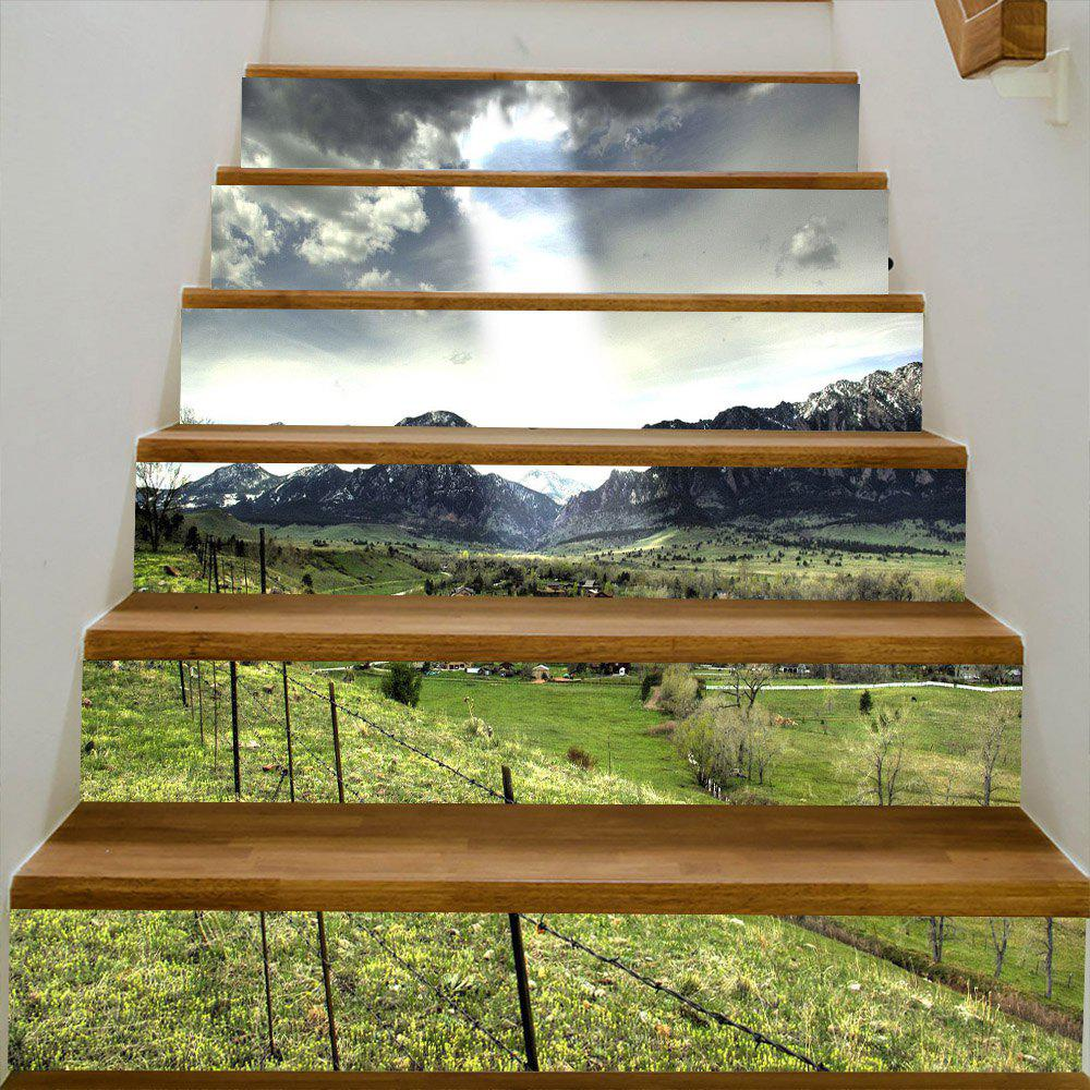 Mountains Village Pattern Decorative Stair Decals - GREEN 100*18CM*6PCS