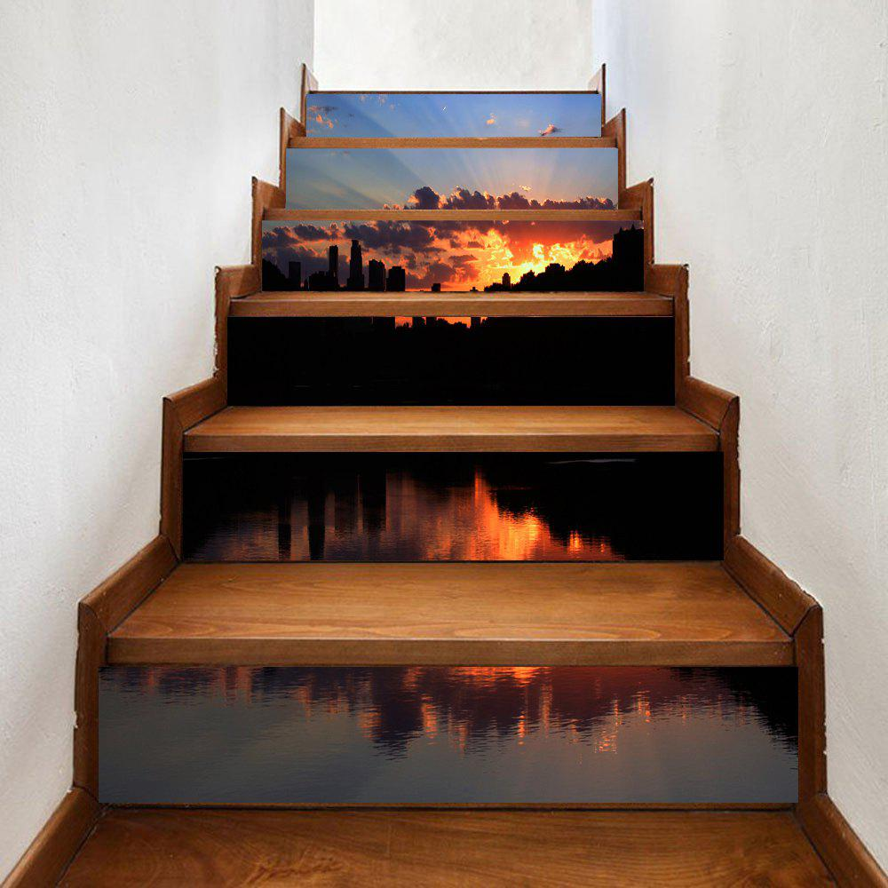 Waterside Sunset Pattern Decorative Stair Decals - COLORMIX 100*18CM*6PCS