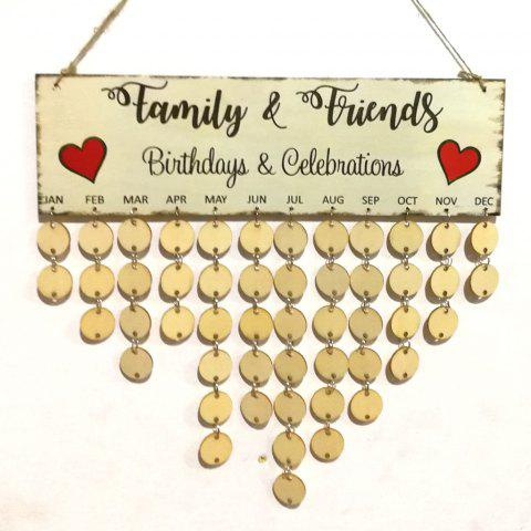 Family And Friends DIY Wooden Birthday Calendar - ROUND