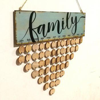 DIY Wall Hanging Wooden Family Birthday Calendar - ROUND