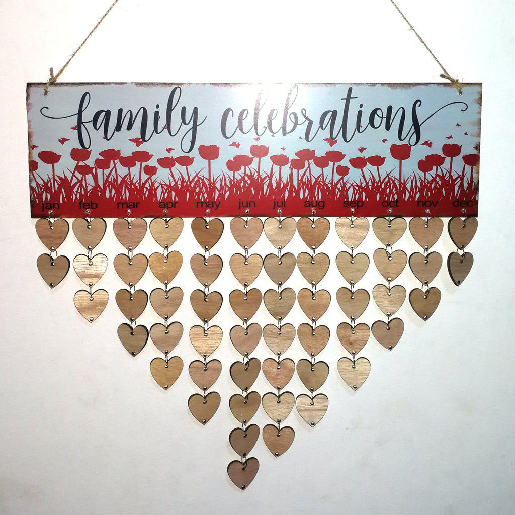 Wooden Family Celebrations DIY Birthday Calendar - HEART