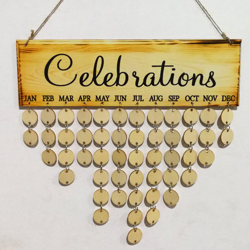 Celebrations Birthday Calendar DIY Wooden Reminder Board diy birthday gift beach style starfish and shells printed wooden calendar board