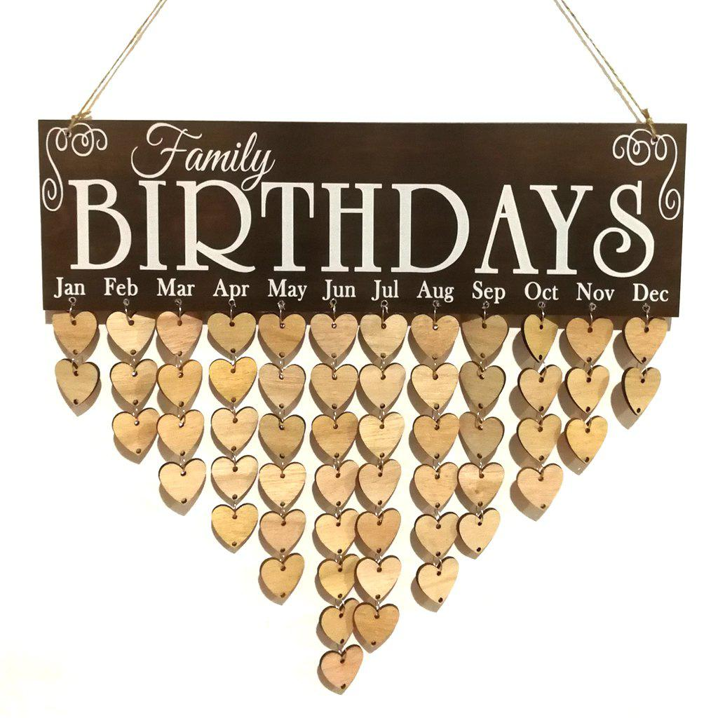 Love Heart Wooden DIY Family Birthday Calendar - HEART