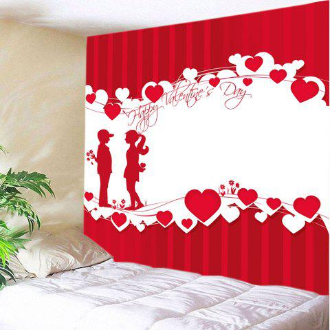 Valentine's Day Lover Heart Print Tapestry Wall Art - RED W79 INCH * L71 INCH