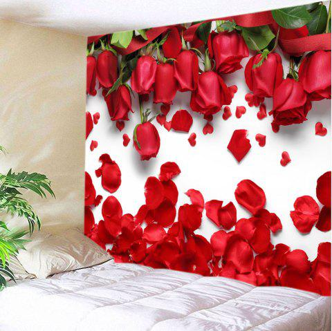 Valentine's Day Roses Petals Print Tapestry Wall Art - RED W59 INCH * L59 INCH