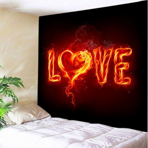 Burning Love Print Tapestry Valentine's Day Wall Art - BLACK W59 INCH * L51 INCH