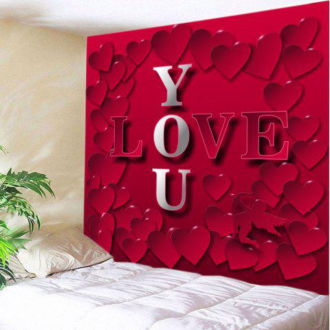 Valentine's Day Love You Heart Print Tapestry Wall Art - RED W59 INCH * L51 INCH