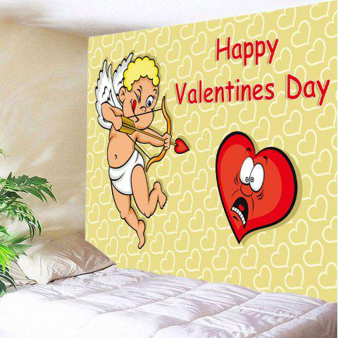 Valentine's Day Cupid Print Tapestry Wall Art - YELLOW W59 INCH * L59 INCH