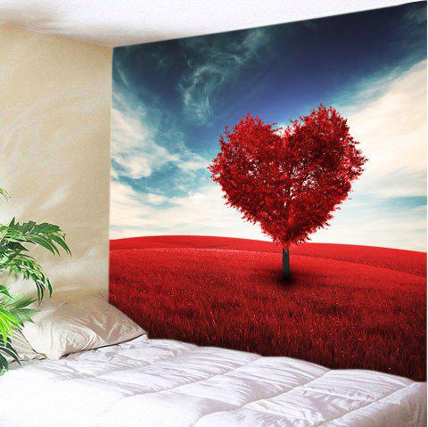Valentine's Day Heart Tree Print Tapestry Wall Art - RED W59 INCH * L59 INCH