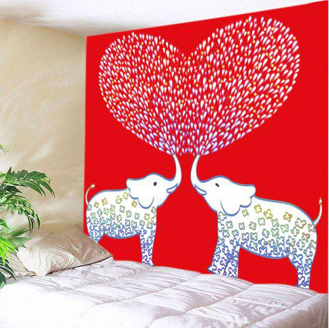 Valentine's Day Elephant Lover Print Tapestry Wall Art - RED W91 INCH * L71 INCH