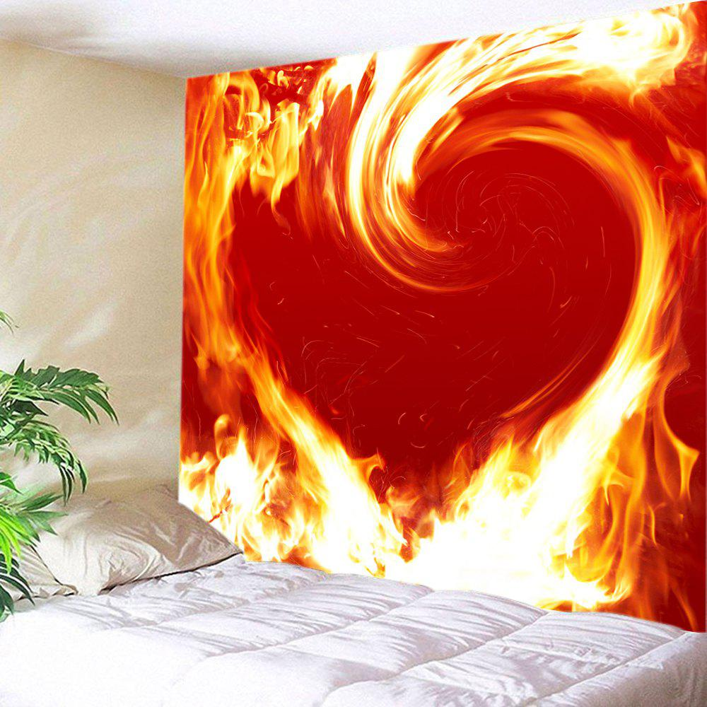 Flaming Heart Print Tapestry Valentine's Day Wall Art valentine s day heart starlight print tapestry wall hanging decoration