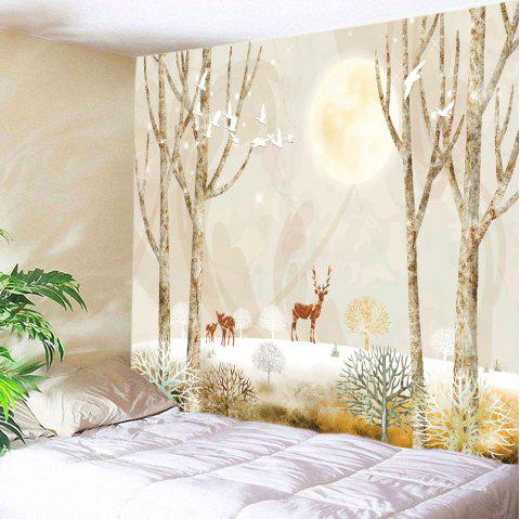 Moon Night Elks Print Tapestry Wall Hanging Art - LIGHT YELLOW W79 INCH * L71 INCH
