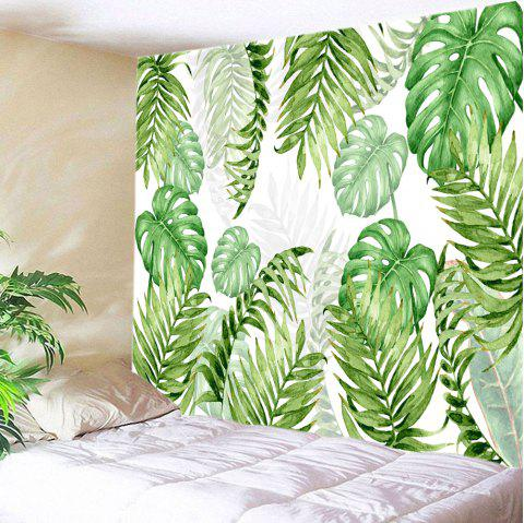 Tropical Leave Print Tapestry Wall Hanging Art Green W91 Inch L71