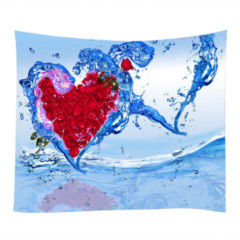 Rose Petal Water Splash Heart Pattern Wall Decoration Tapestry - RED W79 INCH * L71 INCH