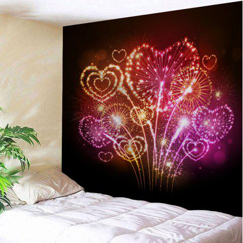 Valentine's Day Heart Firework Print Tapestry Wall Hanging - COLORMIX W91 INCH * L71 INCH