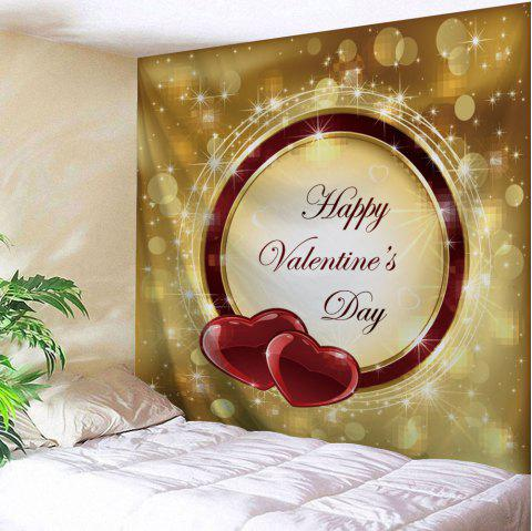 Happy Valentine's Day Print Tapestry Wall Hanging - COLORMIX W91 INCH * L71 INCH