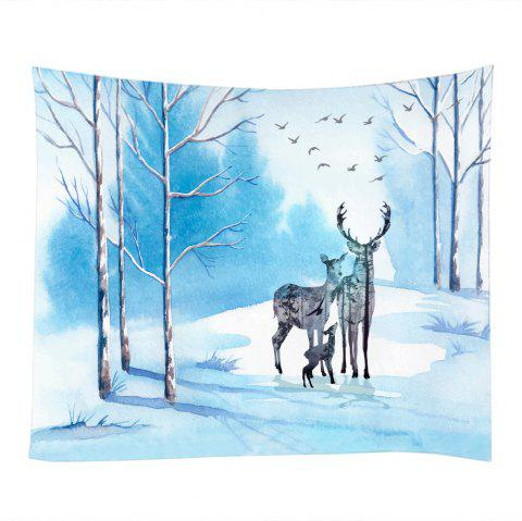 Deer Family Bird Pattern Wall Decoration Tapestry - LAKE BLUE W79 INCH * L59 INCH