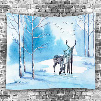 Deer Family Bird Pattern Wall Decoration Tapestry - LAKE BLUE W91 INCH * L71 INCH