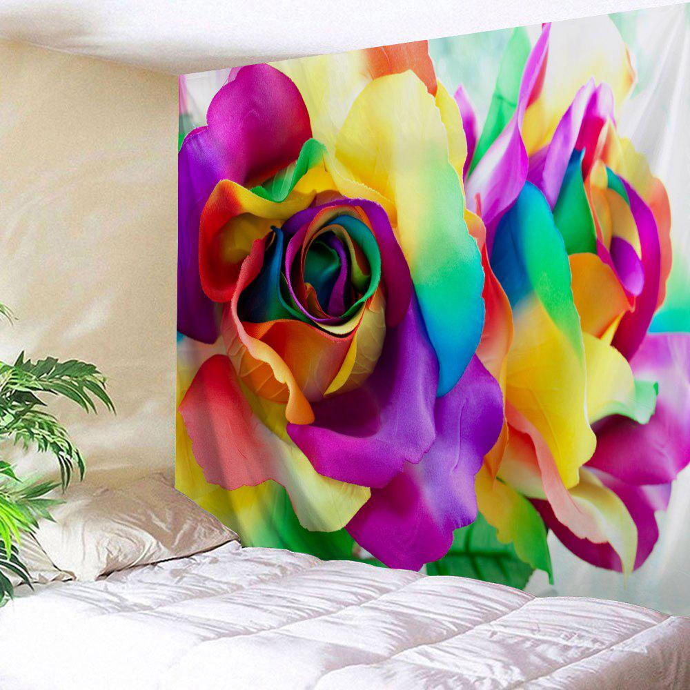 Valentine's Day Colorful Rose Printed Wall Hanging Art Tapestry - COLORFUL W91 INCH * L71 INCH