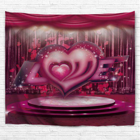 Valentine's Day Love Stage Pattern  Wall Tapestry - ROSE MADDER W91 INCH * L71 INCH