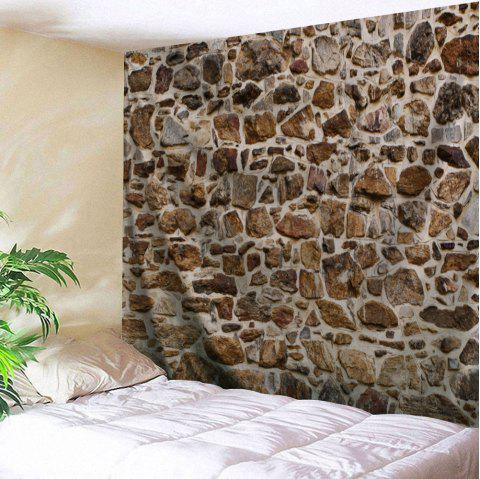 Stones Wall Pattern Tapestry Hanging Decoration - BROWN W91 INCH * L71 INCH