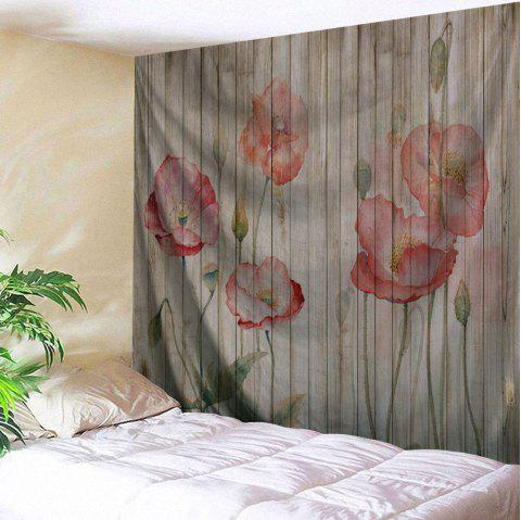 Wall Hanging Decor Flowers Woodgrain Print Tapestry - COLORMIX W59 INCH * L51 INCH