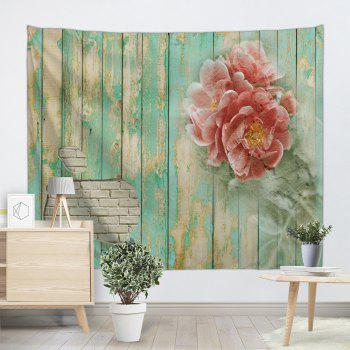 Flowers Wooden Board Pattern Wall Art Tapestry - COLORMIX W91 INCH * L71 INCH