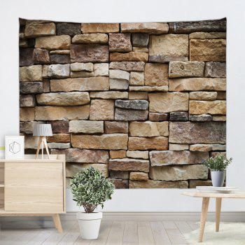 Stones Brick Wall Print Hanging Art Tapestry - LIGHT BROWN LIGHT BROWN