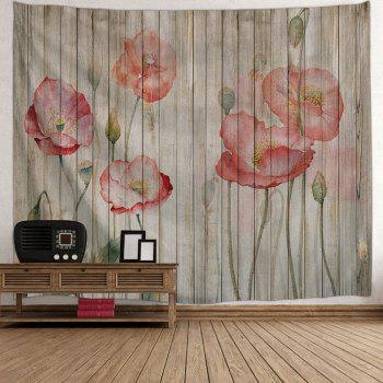 Wall Hanging Decor Flowers Woodgrain Print Tapestry - COLORMIX W91 INCH * L71 INCH