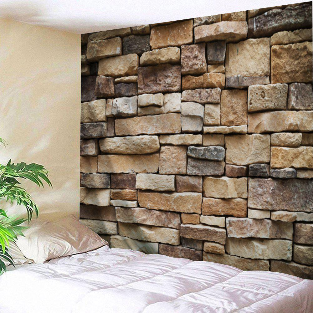 Stones Brick Wall Print Hanging Art Tapestry - LIGHT BROWN W91 INCH * L71 INCH