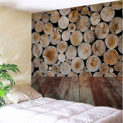 Wood Grain Board Printed Home Decor Wall Tapestry - BROWN W91 INCH * L71 INCH