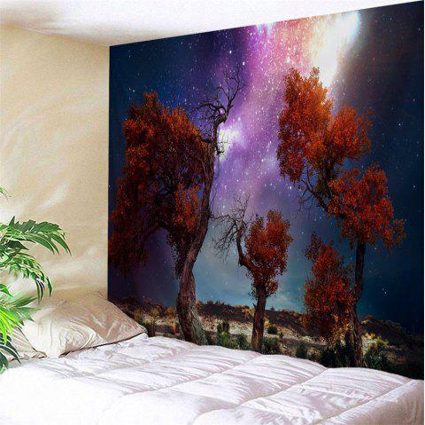 Trees Moor Night Sky Print Waterproof Wall Tapestry - COLORMIX W59 INCH * L51 INCH