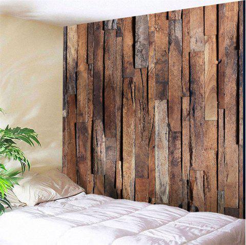 Wall Hanging Art Uneven Wooden Board Print Tapestry - BROWN W91 INCH * L71 INCH