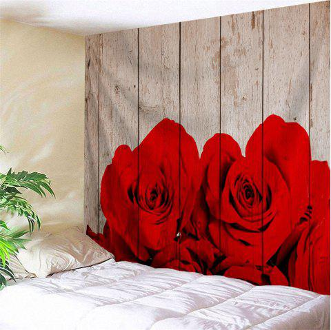 Waterproof Rose Plank Print Wall Hanging Tapestry - COLORMIX W79 INCH * L71 INCH