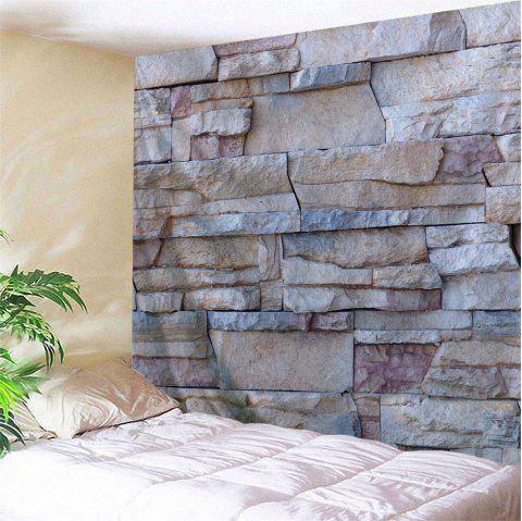 Wall Decoration Stone Brick Wall Pcattern Tapestry - GRAY W59 INCH * L51 INCH