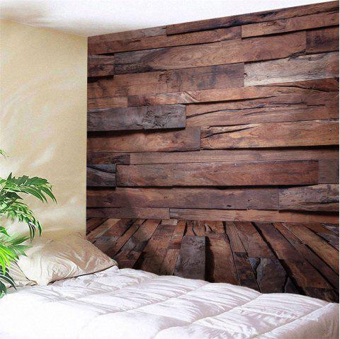 Irregular Wood Board Printed Wall Art Decor Hanging Tapestry - BROWN W91 INCH * L71 INCH